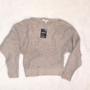 New off the shoulder grey shirt/sweater